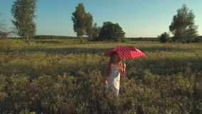 Little girl with red umbrella waves hand and walks on the meadow. The camera shoots from behind. Little girl wearing white dress walks with the polka dot red stock video