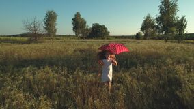 Little girl runs with red umbrella through a field. The camera shoots from behind. Little girl wearing white dress walks with the polka dot red umbrella over the stock video