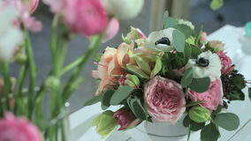 Camera shoots flowers of the roses, bouquet in motion. stock footage