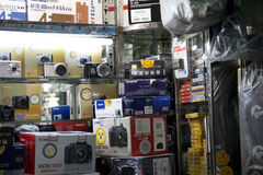Camera shop. An ubiquitous, small camera shop selling the major brands Royalty Free Stock Photography