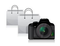 Camera and shopping bags Stock Images