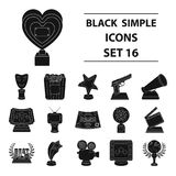 Camera, shout, Globe, objects for rewarding films.Movie Awards set collection icons in black style vector symbol stock. Illustration Royalty Free Stock Photos