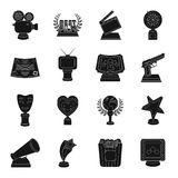 Camera, shout, Globe, objects for rewarding films.Movie Awards set collection icons in black style vector symbol stock. Illustration Stock Image