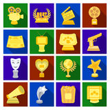 Camera, shout, Globe, objects for rewarding films.Movie Awards set collection icons in flat style vector symbol stock. Illustration Royalty Free Stock Photography