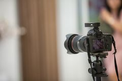 Camera show viewfinder image catch motion in interview or broadcast wedding ceremony, catch feeling, stopped motion in best memori. Al day concept.Video Cinema royalty free stock photo
