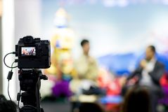 Camera show viewfinder image catch motion in interview or broadcast wedding ceremony, catch feeling,
