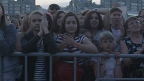 Camera Shows Music Fans Applauding and Screaming at Concert stock video