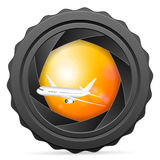 Camera shutter with airplane Stock Photos