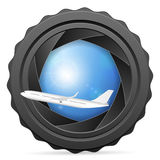 Camera shutter with airplane Stock Photo