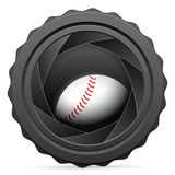 Camera shutter with baseball ball Royalty Free Stock Image