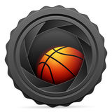 Camera shutter with basketball ball Royalty Free Stock Photography