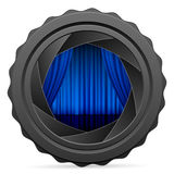 Camera shutter with blue curtain Stock Images