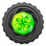 Camera shutter with clover Royalty Free Stock Photography