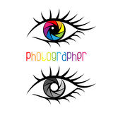 Camera shutter in eye design Concept. Stock Image