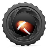 Camera shutter with football ball Royalty Free Stock Photo