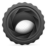 Camera shutter with golf ball Stock Photo