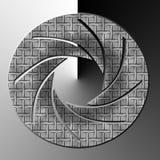 Camera Shutter in grey. Camera shutter logo or icon on grey background stock illustration