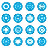 Camera shutter icon blue. Isolated vector illustration Royalty Free Stock Photo