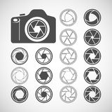 Camera shutter icon set, vector eps10 Stock Images