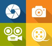 Camera and shutter icons Stock Photography