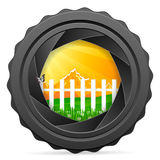 Camera shutter with landscape Royalty Free Stock Photos
