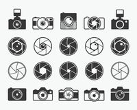 Camera shutter, lenses and photo camera icons. Set. Aperture and photography vector illustration for photo studio, photographer and digital media Royalty Free Stock Photography