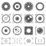 Camera shutter, lenses and photo camera elements set. Aperture and photography illustration. Set of photography concept. Camera shutter, lenses and photo camera royalty free illustration