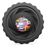 Camera shutter with national flag globe Royalty Free Stock Photos
