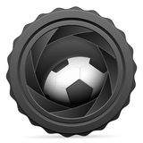 Camera shutter with soccer ball Stock Images