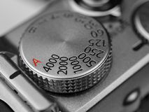Camera Shutter Speed Dial. Close-up of shutter speed dial on retro style digital camera stock images