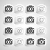 Camera shutter sticker icon set, vector eps10 Stock Image