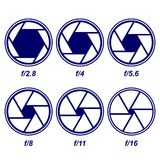 Camera shutter symbols  illustration Royalty Free Stock Image