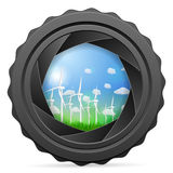 Camera shutter with wind generators Stock Photos