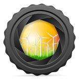 Camera shutter with wind turbines Stock Image