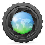 Camera shutter with world map Royalty Free Stock Photography