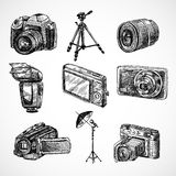 Camera sketch icons set Stock Image
