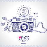 Camera sketch. Illustration sketch vintage retro photo camera vector illustration