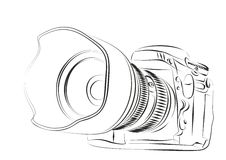 Camera. Sketch of the professional camera vector illustration