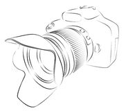 Camera Sketch. A sketch of the professional camera with a lens Royalty Free Stock Photography