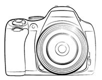 Camera Sketch. A sketch of the professional camera with a lens Stock Illustration