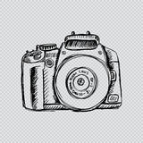 Camera in sketchy style. For shirt design royalty free illustration
