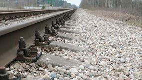 Camera slides over railway and sleepers. stock footage