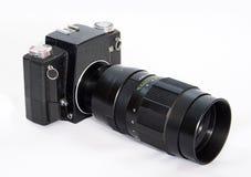Camera SLR met een grote lens. Royalty-vrije Stock Afbeelding