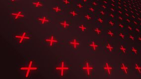 Red crosses pattern motion perspective background