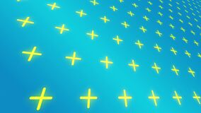 Yellow crosses pattern motion perspective background