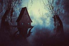 Camera spettrale della strega in foschia illustrazione vettoriale