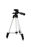 Camera stand tripod. Isolated on white background Royalty Free Stock Images