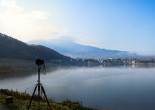 Camera stand on tripod. Camera standing on tripod for shooting Mt.Fuji at Kawaguchi Ko Lake , Japan Stock Images