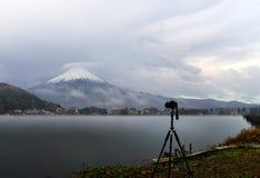 Camera stand on tripod. Camera standing on tripod for shooting Mt.Fuji at Kawaguchi Ko Lake , Japan Stock Photography
