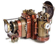 Camera steampunk. Photo camera on a white background. Style Steampunk royalty free stock photos